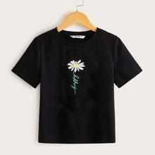 Camiseta floral de niñas con estampado de letra