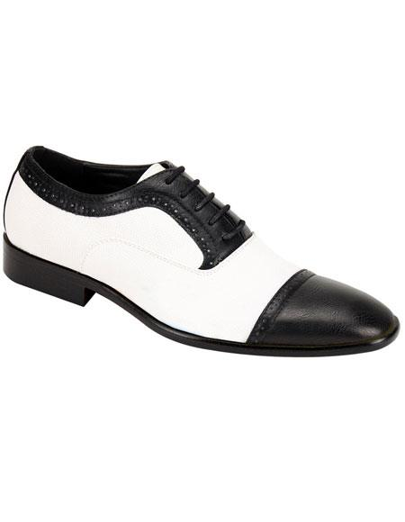 Men's Stylish Black & White Casual Two Toned Dress Shoes Wingtip