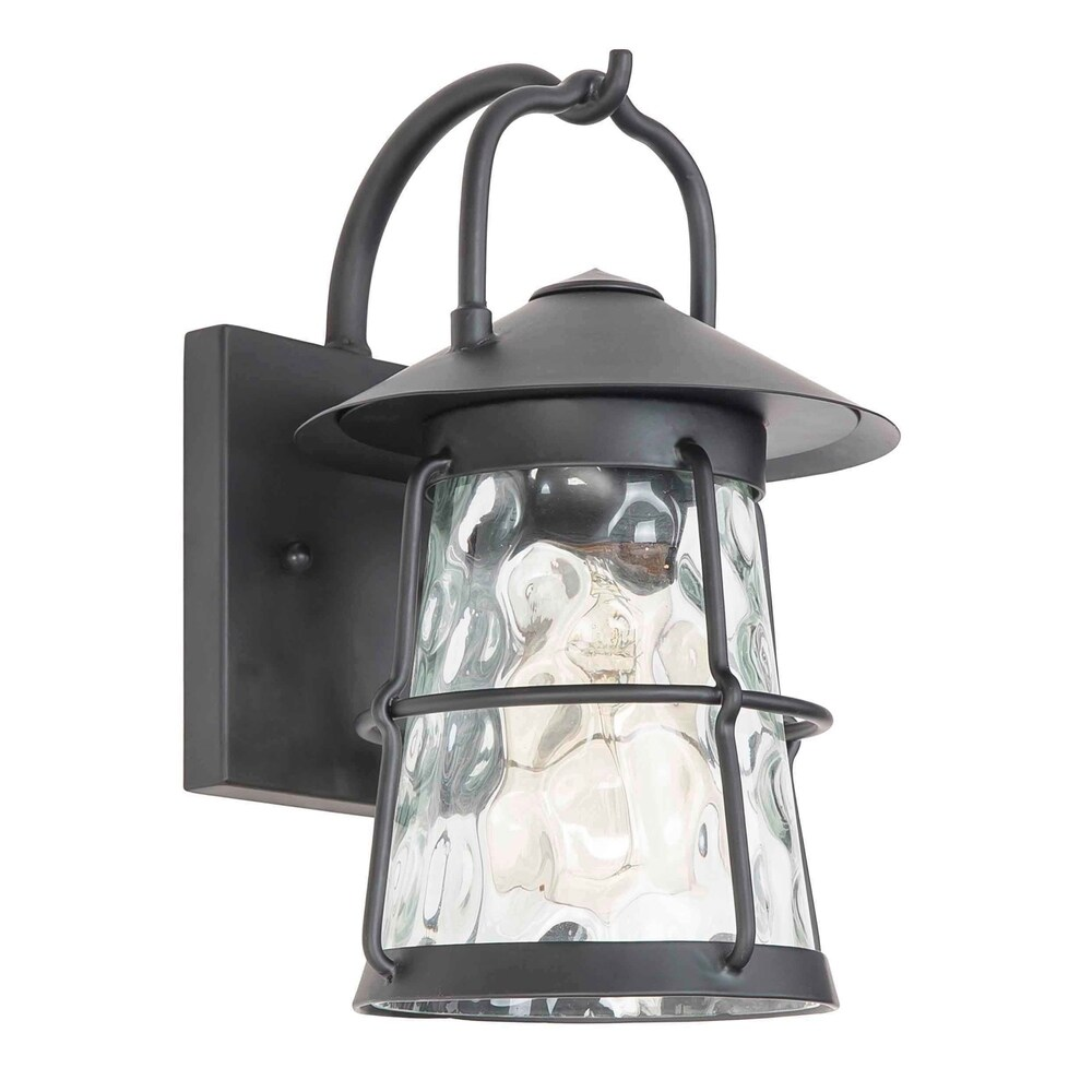 Eglo Taos Canyon 1-light Matte Black Outdoor Wall Light with Clear Water Glass (Matte Black)