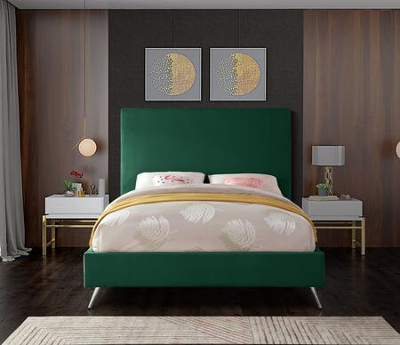 Jasmine JASMINEGREEN-K King Bed with Gold and Chrome Leg Sets  Full Slats and Velvet Upholstery in