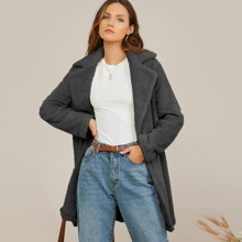 Notch Collar Slant Pocket Teddy Coat