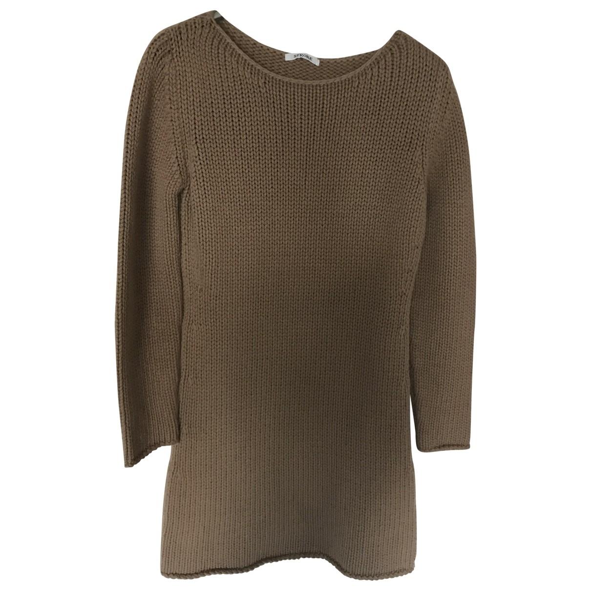 Stroke - Robe   pour femme en cachemire - beige