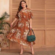Kleid mit Blumen Muster und V Kragen vorn
