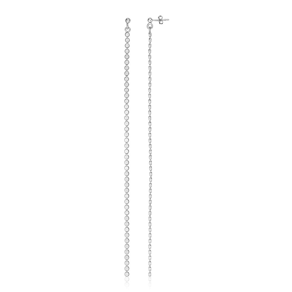 Sterling Silver Long Earrings with Polished Circles (White)