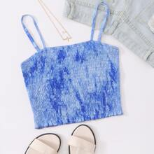 Tie Dye Shirred Frill Cami Top