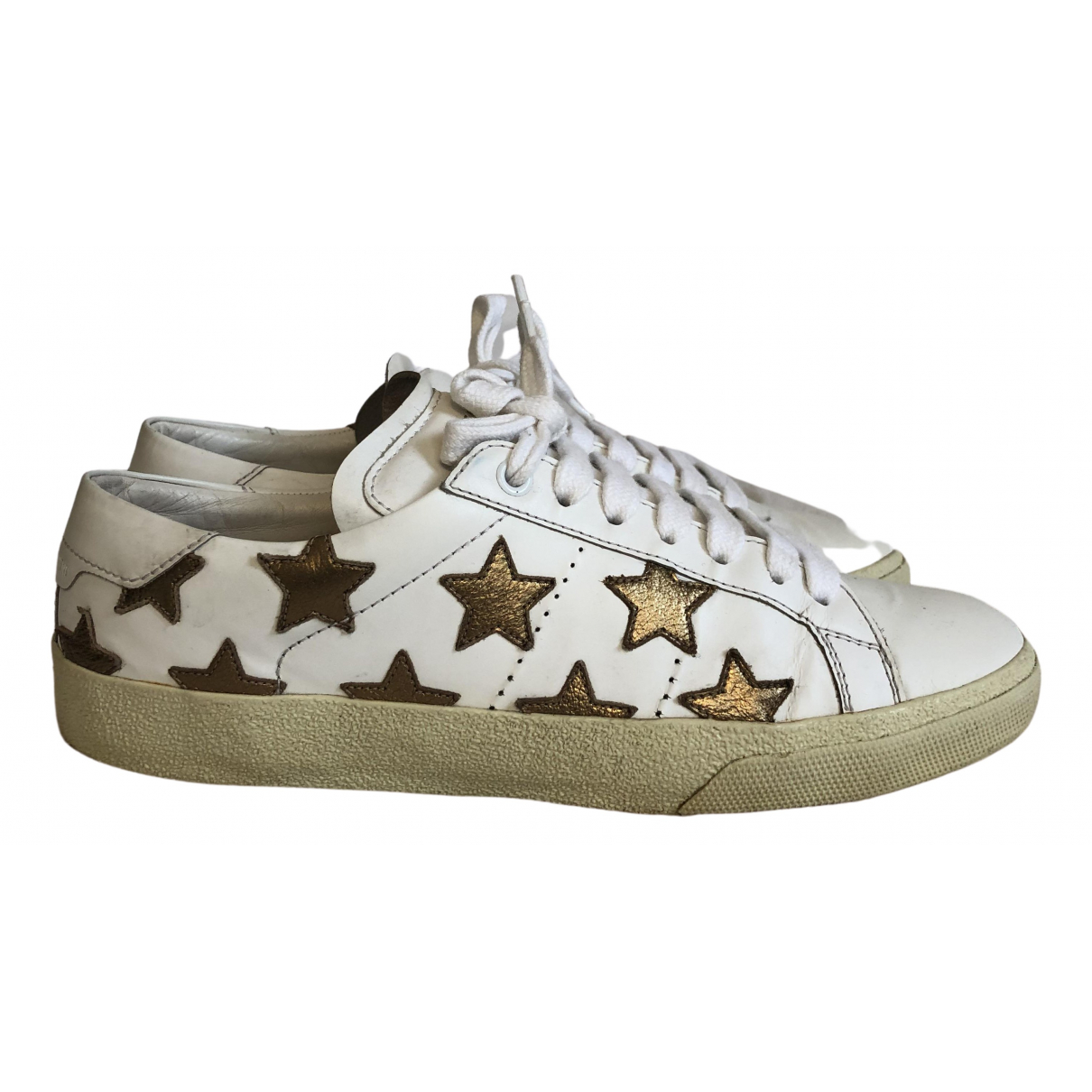 Saint Laurent Court White Leather Trainers for Women 38 EU