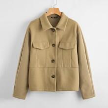 Flap Detail Drop Shoulder Overcoat