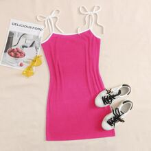 Contrast Binding Knotted Dress