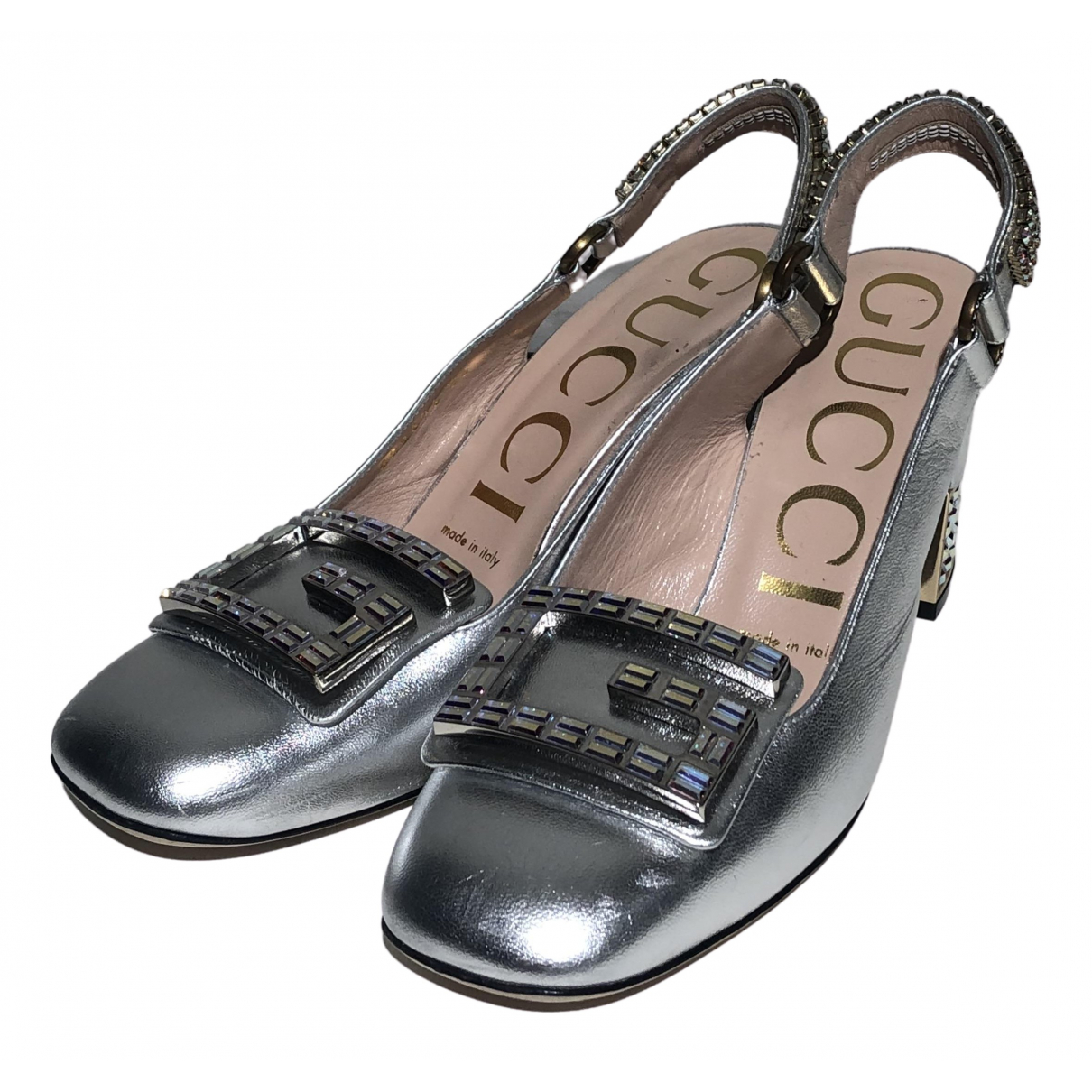 Gucci \N Silver Leather Heels for Women 36 IT