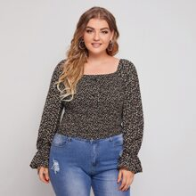 Plus Ditsy Floral Shirred Blouse
