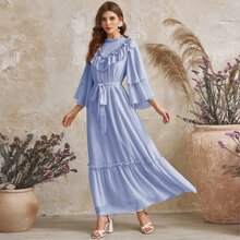 Layered Ruffle Trim Bell Sleeve Self Belted Dress