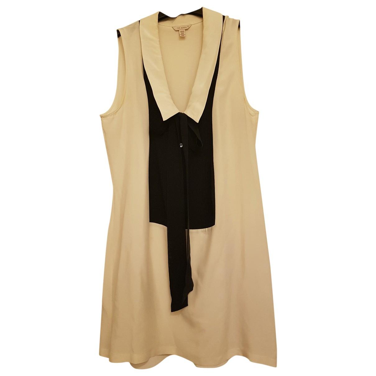 Ted Baker \N Ecru Silk dress for Women 12 UK