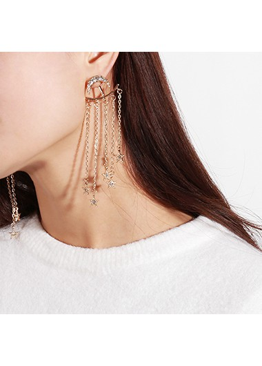 Mother's Day Gifts Star Design Gold Metal Chain Tassel Earring Set - One Size