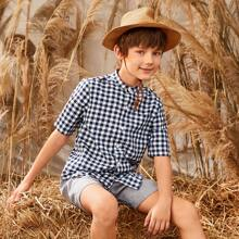 Boys Pocket Patched Buffalo Plaid Shirt