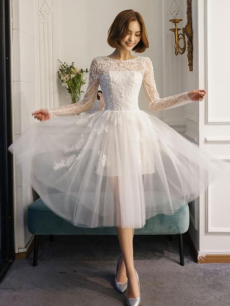Milanoo Short Wedding Dresses White Lace Long Sleeve Illusion Tea Length Bridal Dress