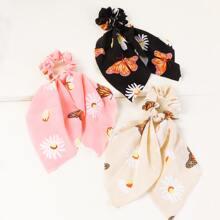 3 Stuecke Maedchen Haarband mit Blumen Muster und Knoten