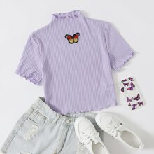 Lettuce Trim Rib-knit Butterfly Patched Top