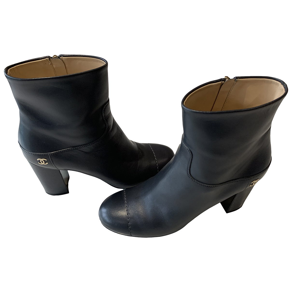 Chanel \N Grey Leather Boots for Women 39 EU