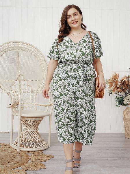 Yoins Plus Size Backless Design Calico V-neck Short Sleeves Jumpsuit