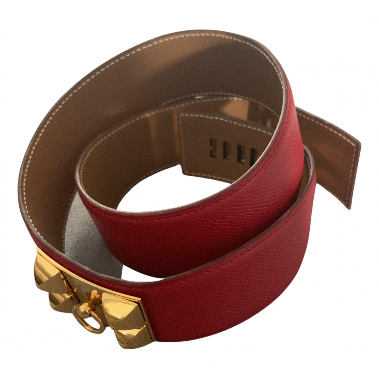 Hermes Collier de chien Guertel in  Rot Leder