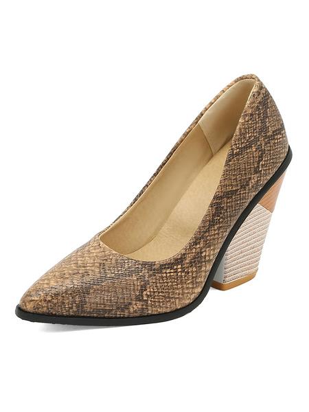 Milanoo Zapatos de tacon alto con estampado de serpiente Zapatos de punta puntiaguda Tacon con forma especial Zapatos de talla grande