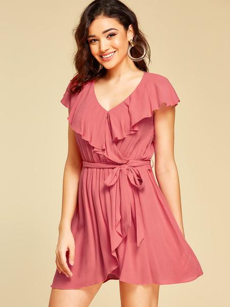 YOINS Pink Ruffle Trim V-neck Short Sleeves Dress