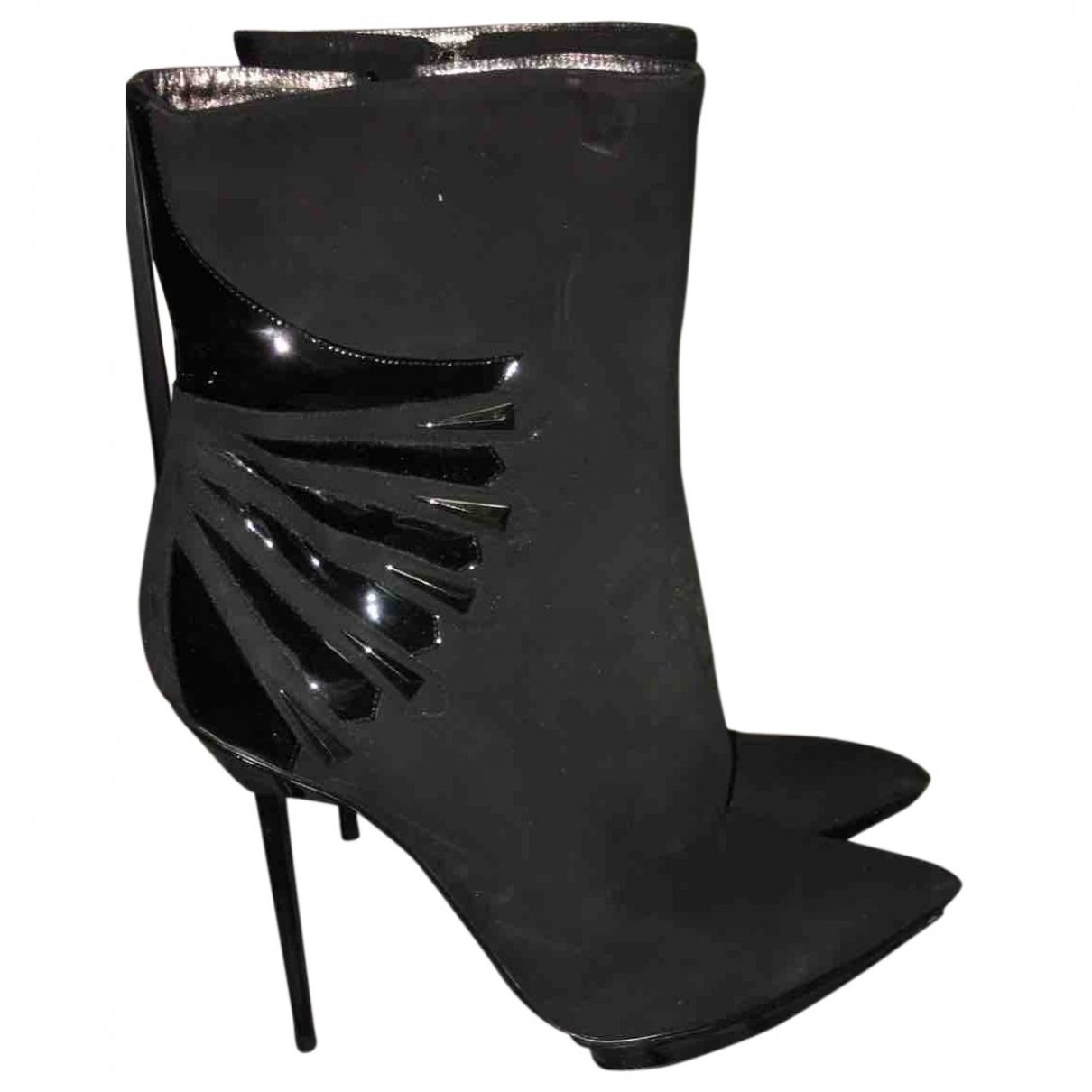 Giorgio Armani \N Black Suede Ankle boots for Women 38 EU