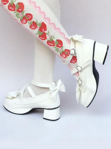 Milanoo White Lolita Shoes Chunky Heel Bow Sweet Lolita Pumps Shoes