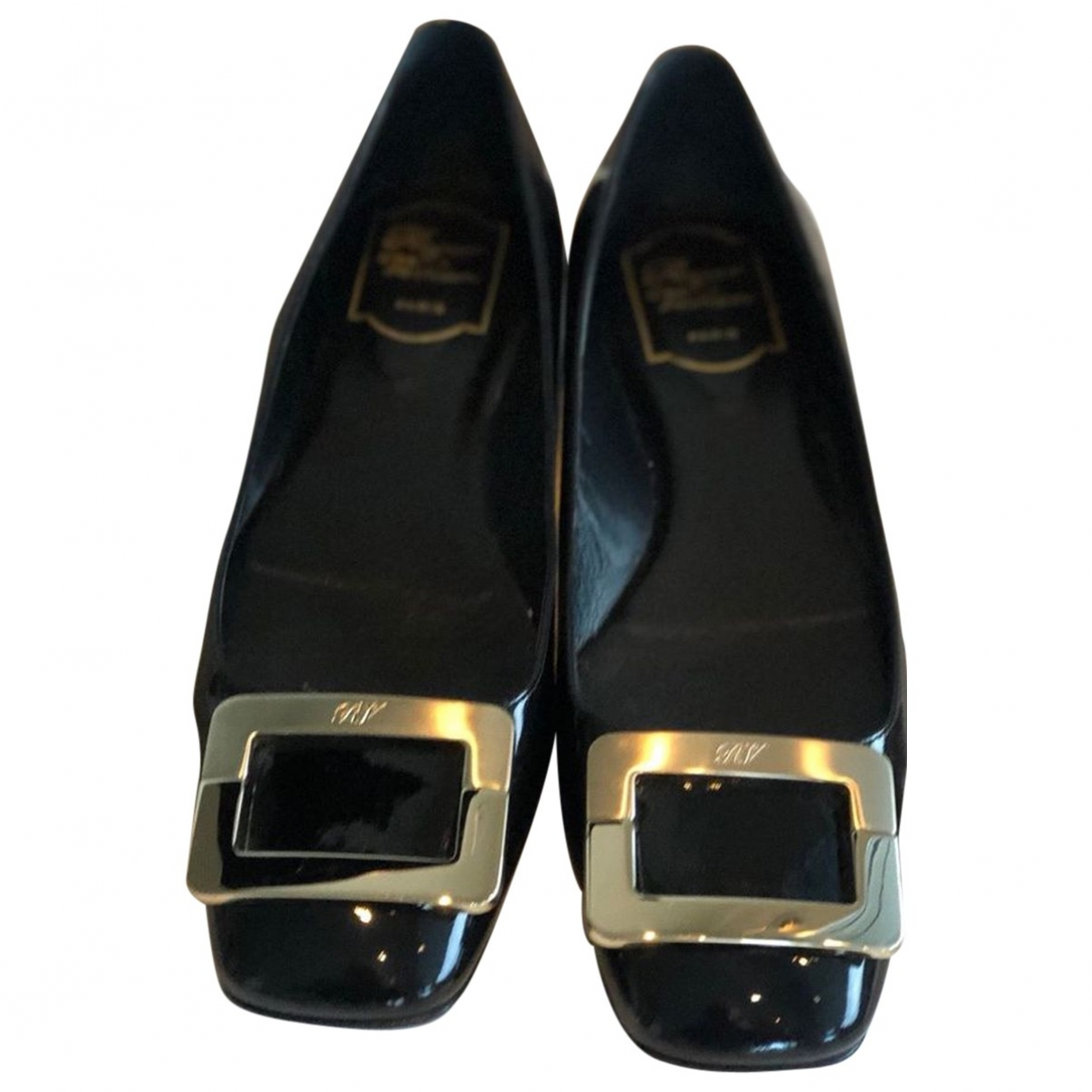 Roger Vivier Gommetine Black Patent leather Ballet flats for Women 39 EU