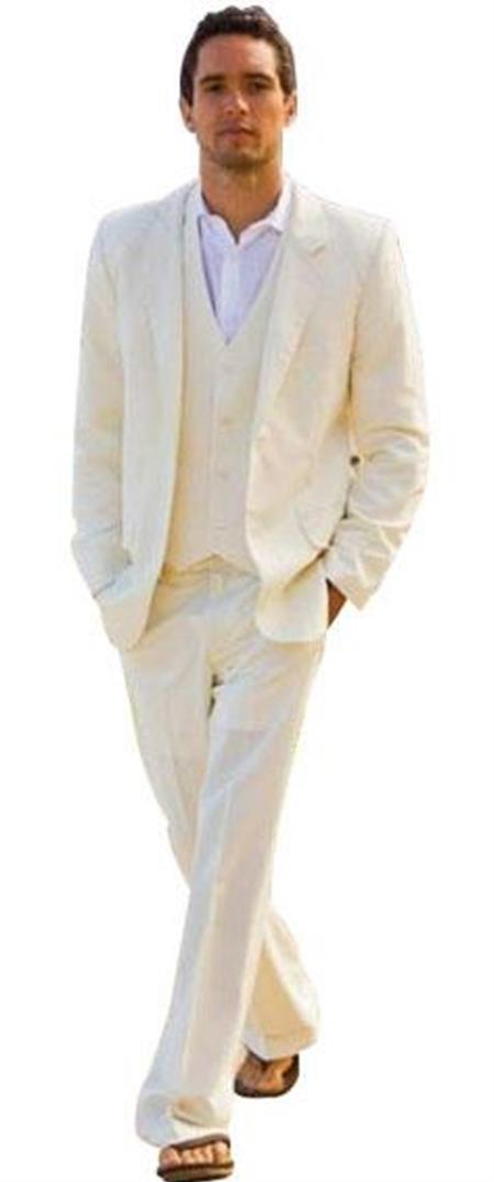 Alberto Single Breasted Nardoni Ivory 2 Button Vested 3 Piece Suit