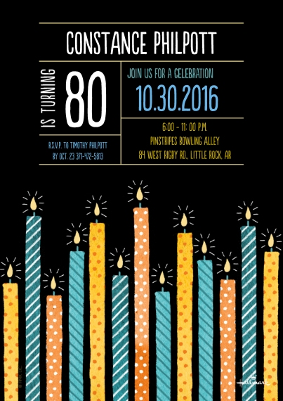 Birthday Party Invites 5x7 Cards, Premium Cardstock 120lb, Card & Stationery -Patterned Candles