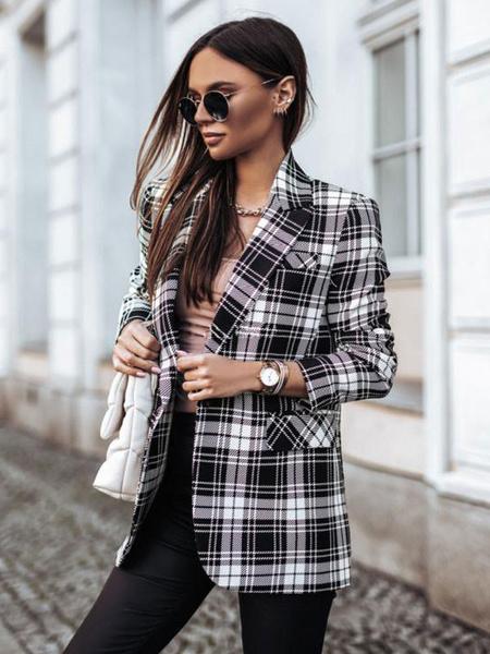 Milanoo Women\'s Blazer Modern Turndown Collar Long Sleeves Plaid Polyester Classic Street Wear