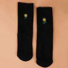 Flower Embroidery Socks