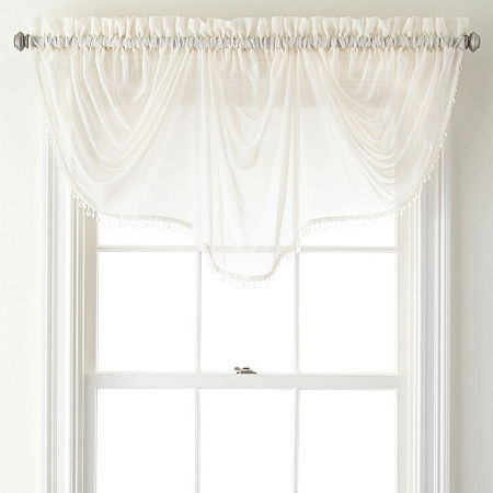 Home Expressions Lisette Sheer Imperial Beaded Valance, One Size , White