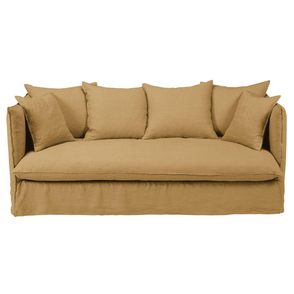 3/4-Sitzer-Schlafsofa mit ockerfarbenem Leinenbezug und Matratze 10 cm Louvre