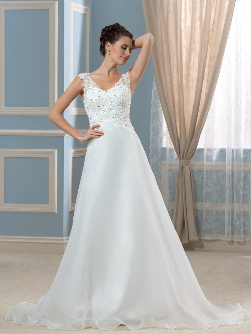 Ericdress V Neck Appliques Sequins Button Wedding Dress