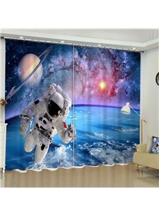 Astronaut in the Moon Printed 2 Panels Decorative and Blackout Living Room Curtain