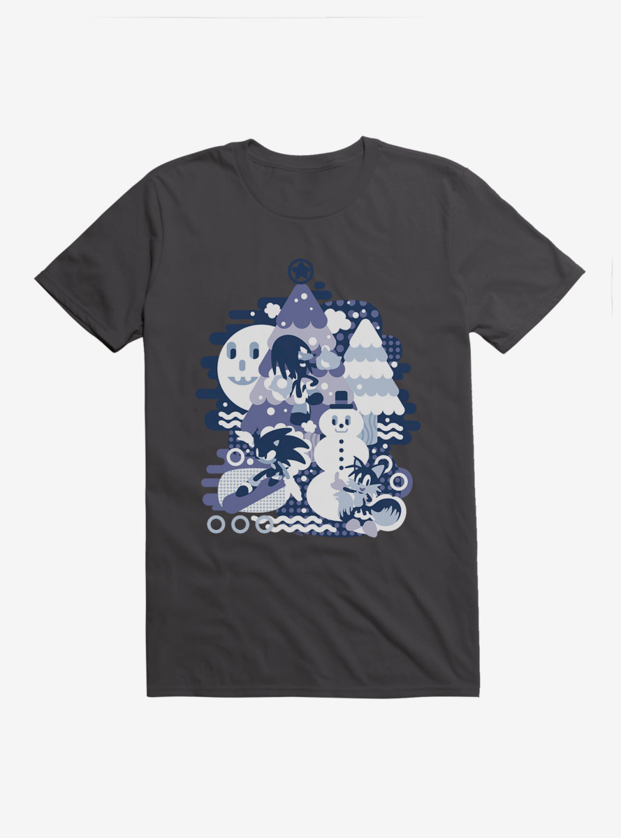Sonic The Hedgehog Winter Snow Friends Blue Tone T-Shirt