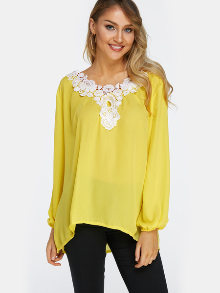 Yoins Yellow Lace Details V Neck Long Sleeves T-shirts