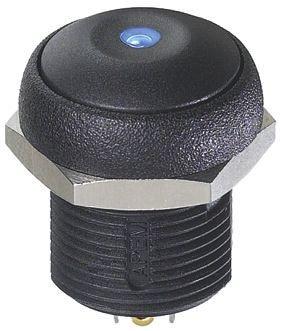 APEM Single Pole Single Throw (SPST) Momentary Blue LED Push Button Switch, IP67, 16 (Dia.)mm, Panel Mount, 250V ac