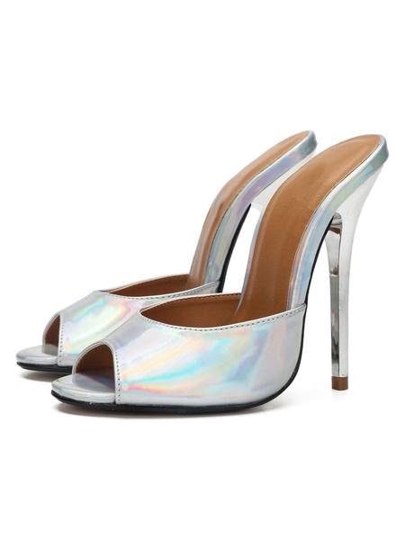 Milanoo High Heel Mules White Peep Toe Stiletto Heel Sandal Slippers For Women