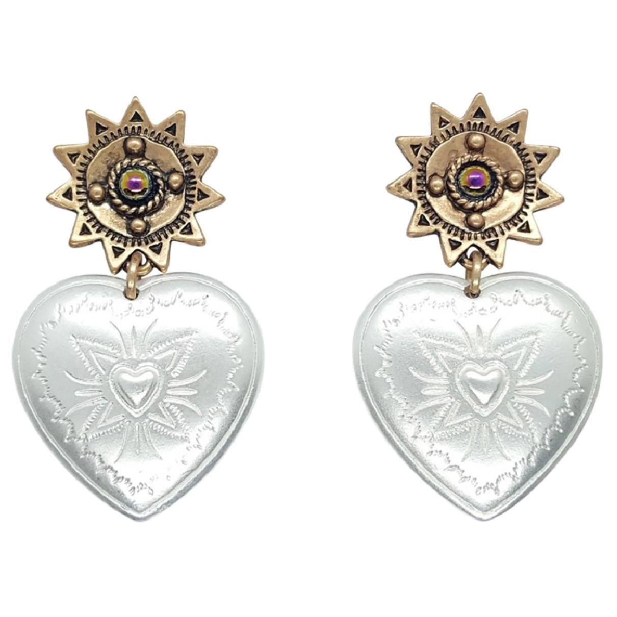 Non Signé / Unsigned Motifs Coeurs Silver Metal Earrings for Women \N