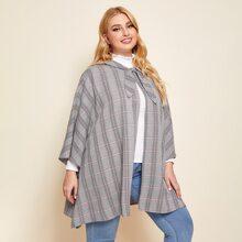 Mantel mit Band vorn, Karo Muster und Cape