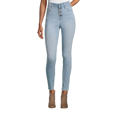 a.n.a Womens High Rise Button Fly Jegging, 10 , Blue