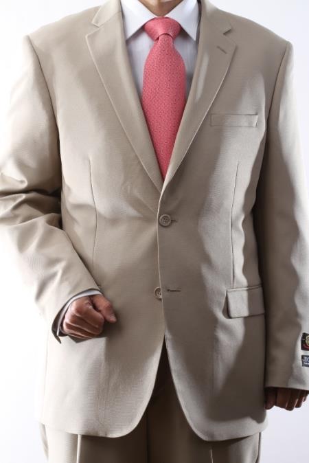 Mens Two Button Superior 100 Beige Dress Suit Side Vent Pleated Pants