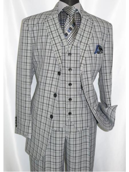 1920's Style Plaid Window Checker Pane Suit Pleated Pant Black Grey