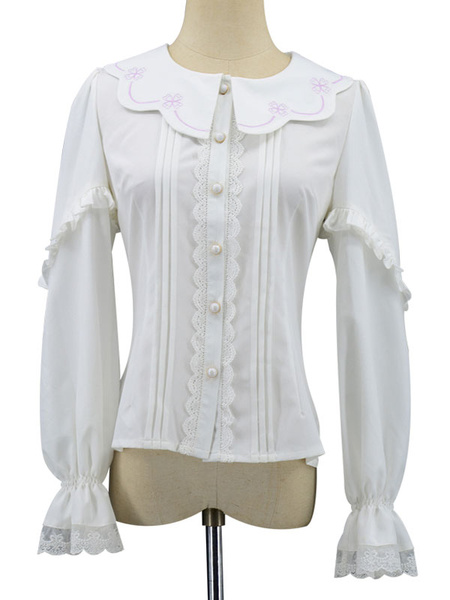 Milanoo Sweet Lolita Blouses Lace Buttons Lolita Top Long Sleeves White Lolita Shirt