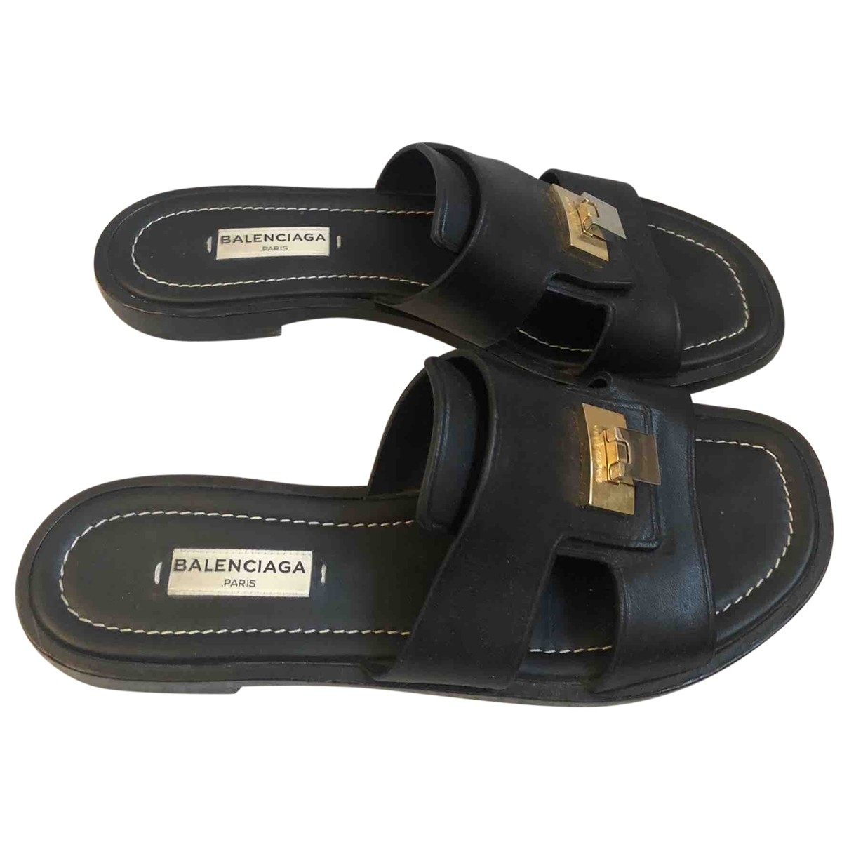 Balenciaga \N Black Leather Sandals for Women 36 EU