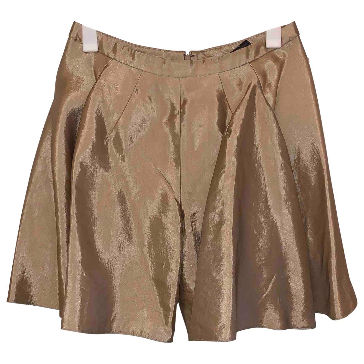 Balenciaga \N Gold Silk Shorts for Women 38 FR