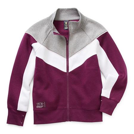 Xersion Cotton Fleece Little & Big Girls Long Sleeve Sweatshirt, Medium (10-12) , Purple